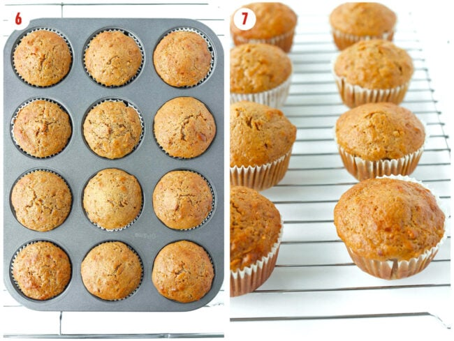Baked muffins in muffin pan, and muffins on a wire cooling rack.