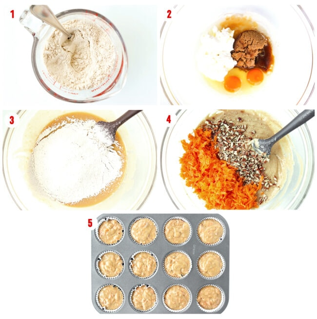 Process steps to make batter for Carrot Cake Muffins.