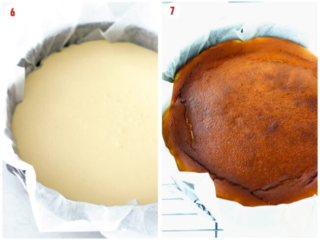 Unbaked batter and baked cake in parchment paper lined springform pan.