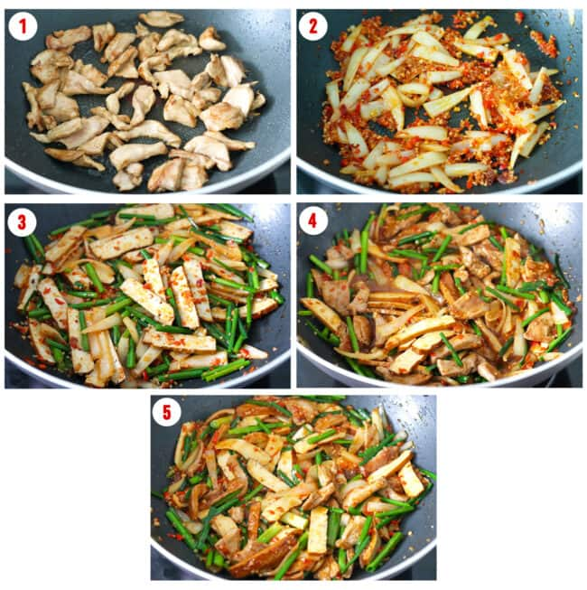 Process steps to make Stir-fried Garlic Scapes with Pork and Tofu.