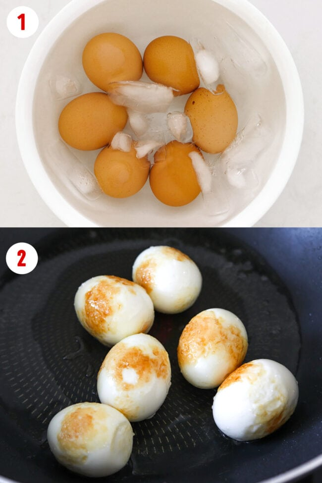 Eggs in an ice bath in a bowl, and sautéing peeled hard boiled eggs in a wok.
