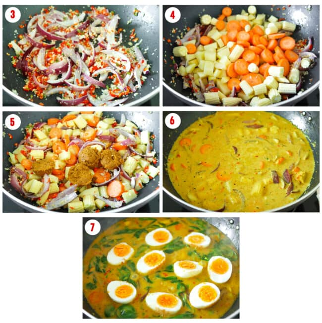 Process steps to make Thai Yellow Egg Curry.