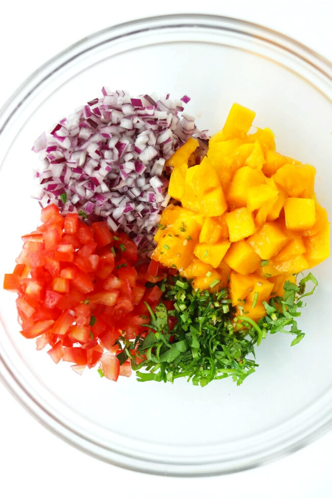 Chopped red onion, tomato, coriander, green chili, and diced mango in a mixing bowl.
