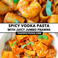"""Close-up and top view of tomato sauce pasta on plate. Text overlay """"Spicy Vodka Pasta with Juicy Jumbo Prawns"""" and """"thatspicychick.com""""."""