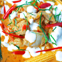 """Close-up front view of chicken curry. Text overlay """"Thai Panang Chicken Curry"""" and """"thatspicychick.com""""."""