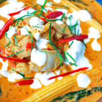 """Front view of curry in bowl. Text overlay """"Thai Panang Chicken Curry"""" and """"thatspicychick.com""""."""