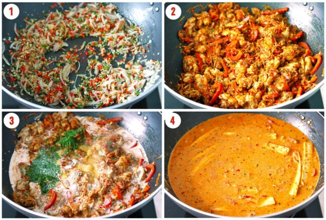 Process steps to make Thai Panang Chicken Curry.