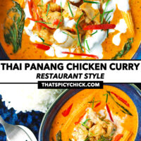 """Top view of curry in bowl, and in small dish on plate with rice. Text overlay """"Thai Panang Chicken Curry"""", """"Restaurant Style"""", and """"thatspicychick.com""""."""