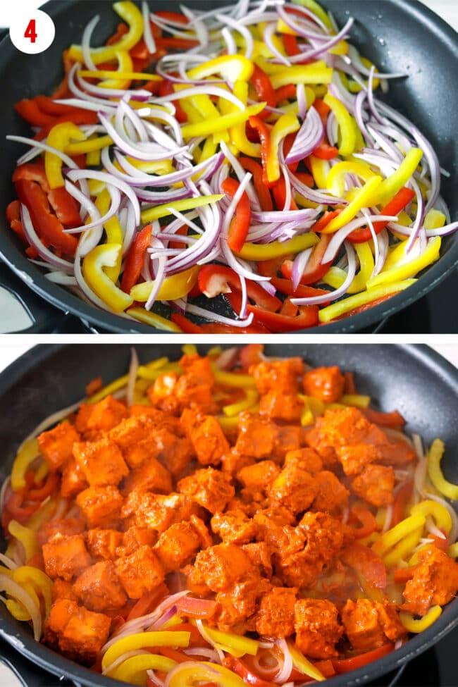 Cooking paneer tikka filling in a skillet.