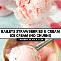 """Strawberry ice cream in a glass, and ice cream scooper with ice cream scoop in a paper carton. Text overlay """"Baileys Strawberries & Cream Ice Cream (No Churn!)"""" and """"thatspicychick.com""""."""