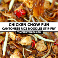 """Chopsticks holding up a bite of noodles, and close-up of stir-fried chicken noodles. Text overlay """"Chicken Chow Fun"""", """"Cantonese Rice Noodles Stir-fry"""", and """"thatspicychick.com""""."""