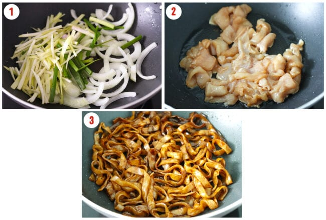 Process steps: Charring onions and chives, partially cooking chicken, and charring noodles in wok.