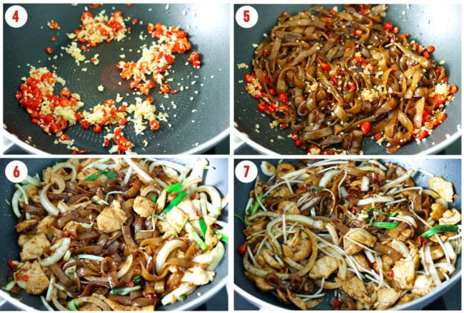 Process steps to make Chicken Chow Fun.