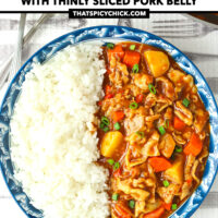 """Top view of curry and rice on a plate, and wok with curry behind. Text overlay """"Japanese Pork Curry"""", """"With Thinly Sliced Pork Belly"""", and """"thatspicychick.com"""""""