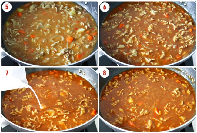 Steps to make Japanese Pork Belly Curry: stirred in curry cubes, adding seasonings, adding cornstarch slurry.