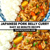 """Close-up top and front view of plate with curry and rice. Text overlay """"Japanese Pork Belly Curry"""", """"Easy 40 Minute Recipe"""", and """"thatspicychick.com"""""""
