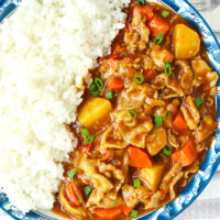 """Close-up of curry and white rice on a plate. Text overlay """"Spicy Japanese Pork Curry"""", """"Easy 40 Minute Recipe"""", and """"thatspicychick.com"""""""