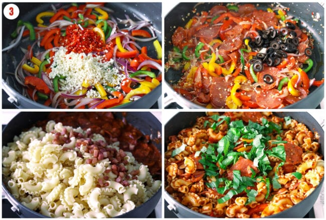 Process steps for making pizza pasta mixture in pan on stovetop.