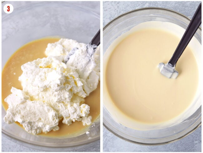Folding whipped cream in to flavorings mixture, and ice cream mixture in a mixing bowl.