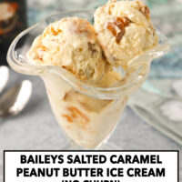 """Front view of dessert glass with ice cream. Text overlay """"Baileys Salted Caramel Peanut Butter Ice Cream (No Churn)"""" and """"thatspicychick.com""""."""