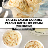"""Ice cream in a dessert glass and unfrozen ice cream mixture in paper cartons. Text overlay """"Baileys Salted Caramel Peanut Butter Ice Cream (No Churn!)"""" and """"thatspicychick.com""""."""