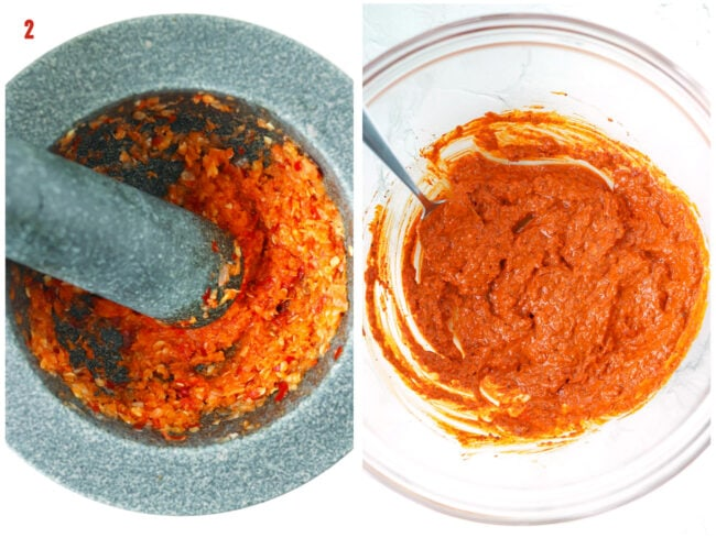 Pounded aromatics paste in mortar with pestle. Indian pork marinade in mixing bowl with spoon.