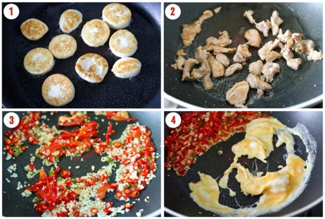 Pan-frying egg tofu in skillet, searing pork in wok, sautéing garlic and chilies, and scrambling egg.