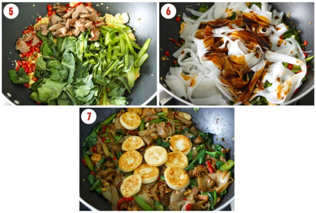 Adding Chinese broccoli to wok, adding noodles and sauce, and adding white pepper and egg tofu.