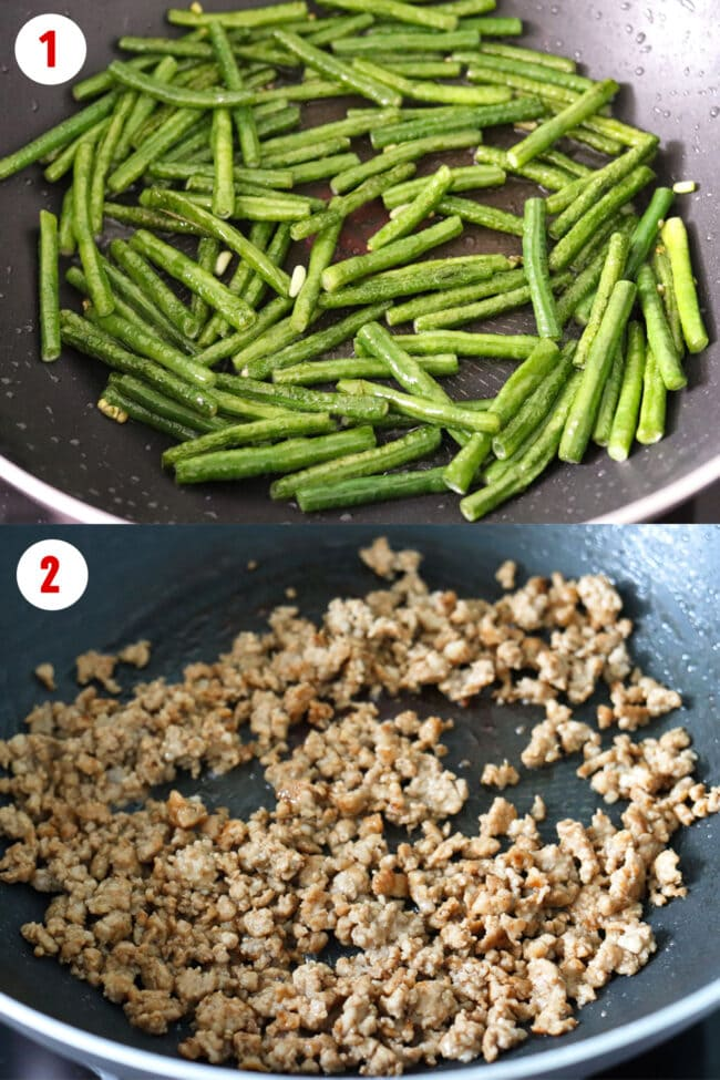 Process steps for shallow-frying green beans and cooking marinated ground pork.