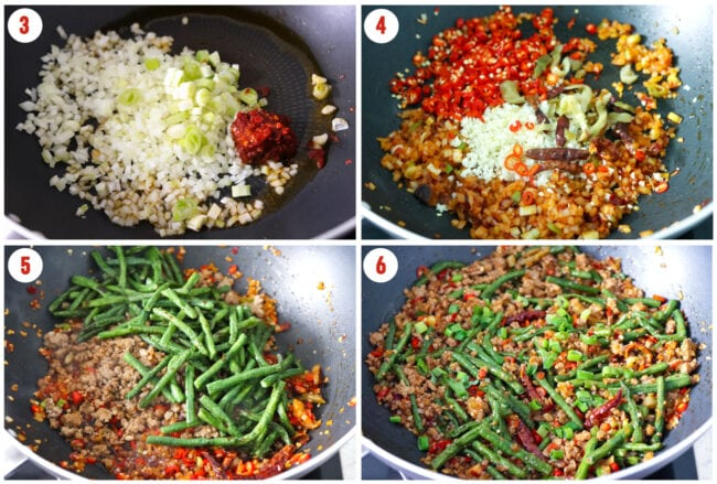 Process steps in a wok for ground pork and green bean stir-fry.