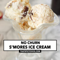 """Ice cream scoops in a dessert glass. Text overlay """"No Churn S'mores Ice Cream"""" and """"thatspicychick.com""""."""