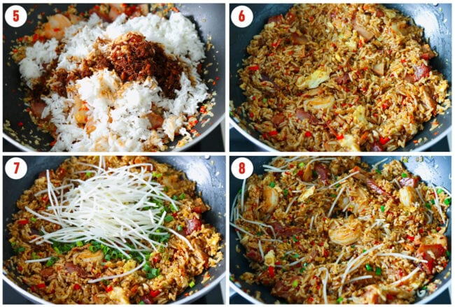 Final cooking steps for XO sauce fried rice.