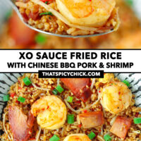 """Spoon holding up a bite of fried rice, and top view of plate with fried rice. Text overlay """"XO Sauce Fried Rice with Chinese BBQ Pork & Shrimp"""" and """"thatspicychick.com""""."""