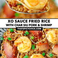 """Spoon holding up a bite of shrimp and pork fried rice, and close-up on a plate. Text overlay """"XO Sauce Fried Rice with Char Siu Pork & Shrimp"""" and """"thatspicychick.com""""."""