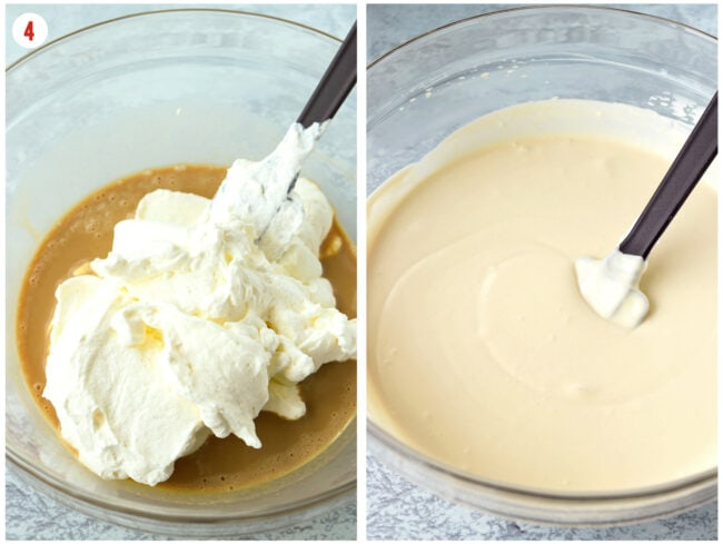 Folding in whipped cream into sweetened condensed milk and flavorings mixture in a large mixing bowl.