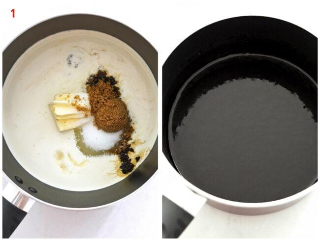 Making hot fudge sauce in a saucepot.