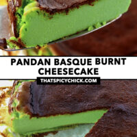 """Cake slicer with cake slice, and cake with a slice cut out. Text overlay """"Pandan Basque Burnt Cheesecake"""" and """"thatspicychick.com""""."""