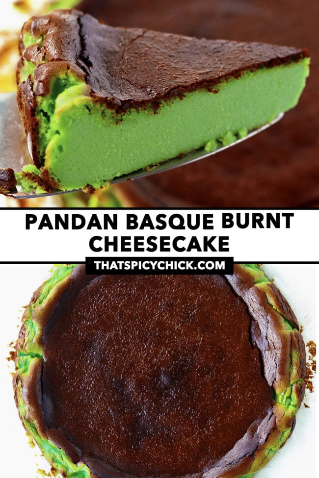 """Cake slicer with cake slice, and whole cake. Text overlay """"Pandan Basque Burnt Cheesecake"""" and """"thatspicychick.com""""."""