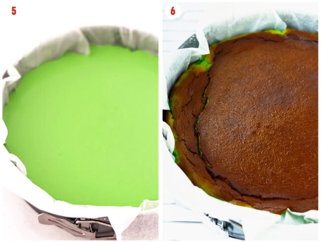 Unbaked green batter and baked pandan burnt cheesecake in a springform cake pan.