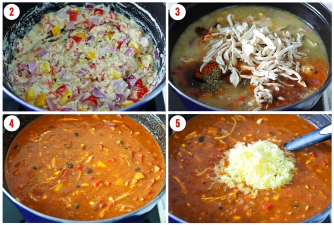 Process steps to make Spicy Chicken Enchilada Soup in a Dutch oven.
