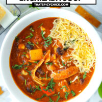 """Bowl with soup garnished with cilantro and cheese. Text overlay """"Spicy Chicken Enchilada Soup"""" and """"thatspicychick.com""""."""