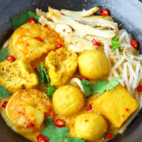 """Close-up front view of broth, fish balls, chicken, tofu puffs, and shrimp in a bowl. Text overlay """"Laksa"""", """"Coconut Curry Noodle Soup"""", and """"thatspicychick.com""""."""