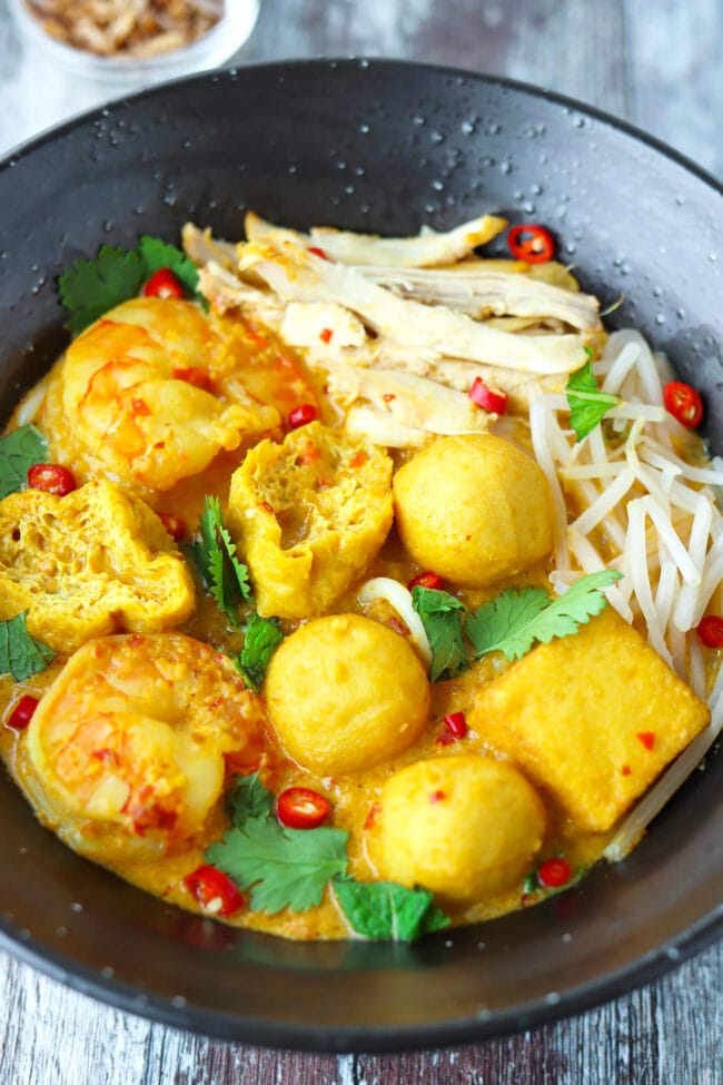 Close-up front view of bowl with laksa.