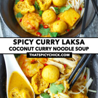 """Front view of noodle soup in bowl, and top view with spoon and chopsticks. Text overlay """"Spicy Curry Laksa"""", """"Coconut Curry Noodle Soup"""", and """"thatspicychick.com""""."""