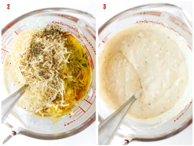 Ingredients in measuring cup with a spoon, and dressing in measuring cup.