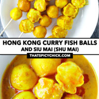 """Curry fish bals and shu mai skewers on a plate, and in bowl. Text overlay """"Hong Kong Curry Fish Balls and Siu Mai (Shu Mai)"""" and """"thatspicychick.com""""."""