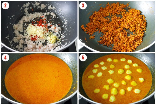 Process steps to make curry fish balls.