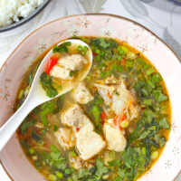 """Soup in bowl with a spoon. Text overlay """"Thai Spicy Pork Rib Soup"""", """"Melt In Your Mouth Spare Ribs!"""", and """"thatspicychick.com""""."""